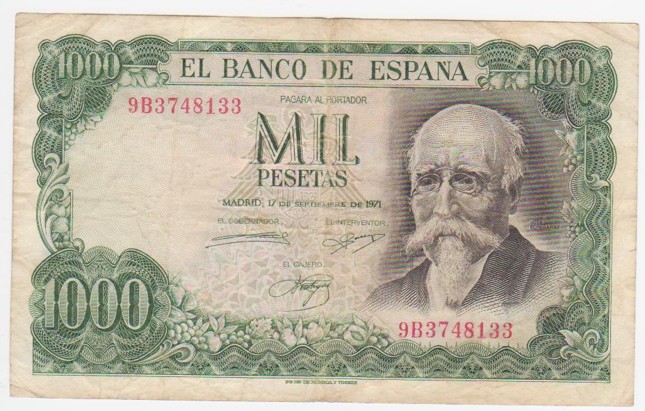 1000 Pesetas 1971 (Serie 9B) 1000_pesetas_1971_serie_9_B