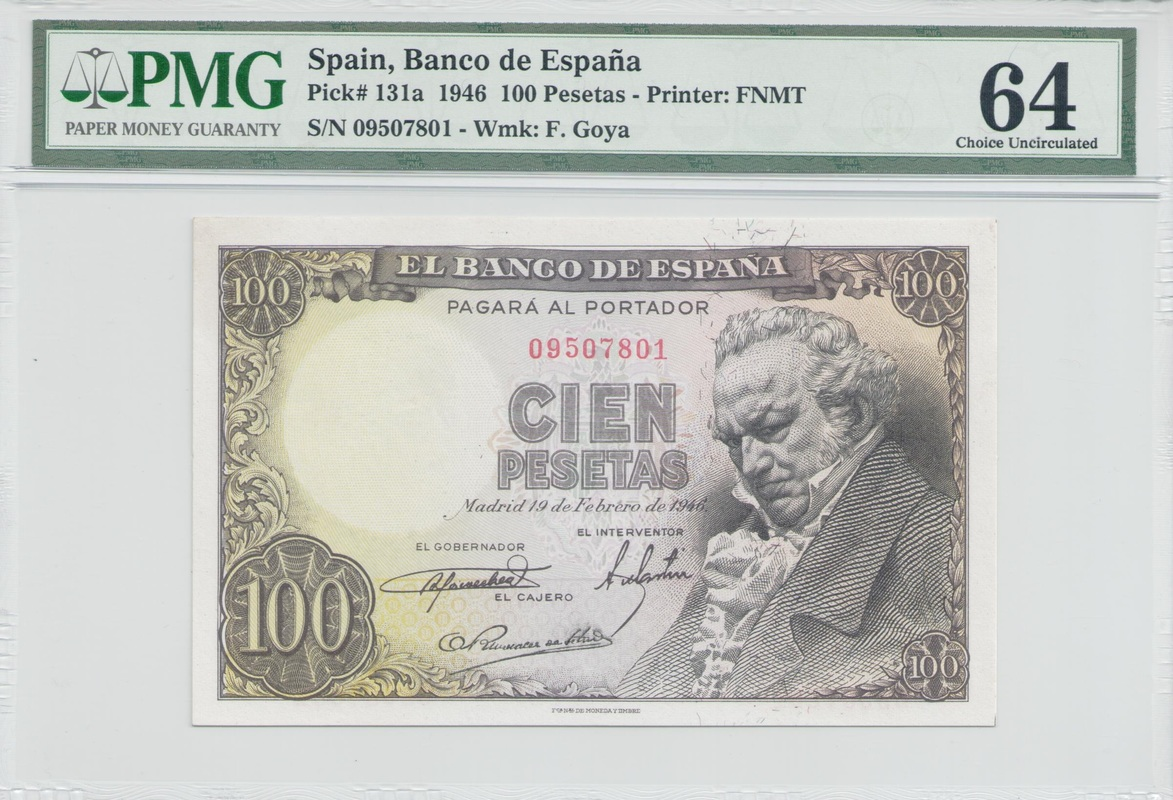 Colección de billetes españoles, sin serie o serie A de Sefcor Goyaanverso