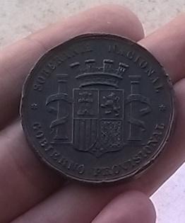 Prueba en cobre 1868, moneda de 5 pesstas 1869 Medalla_1868_rev_2