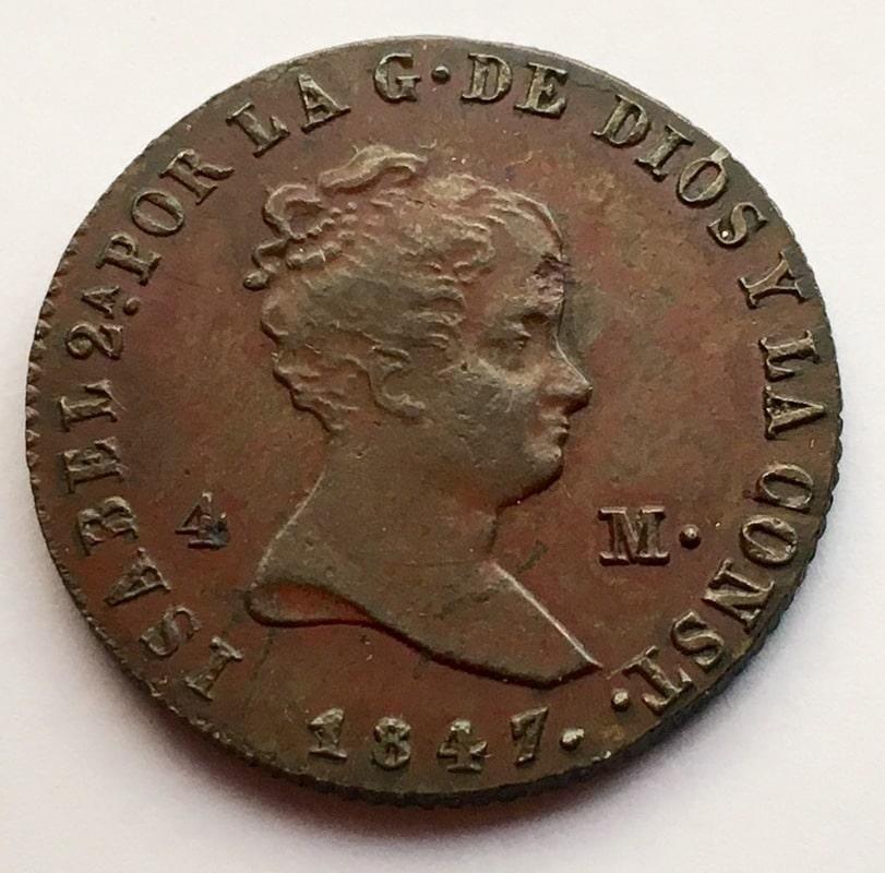 4 maravedís 1847. Isabel II. Jubia IMG_0379