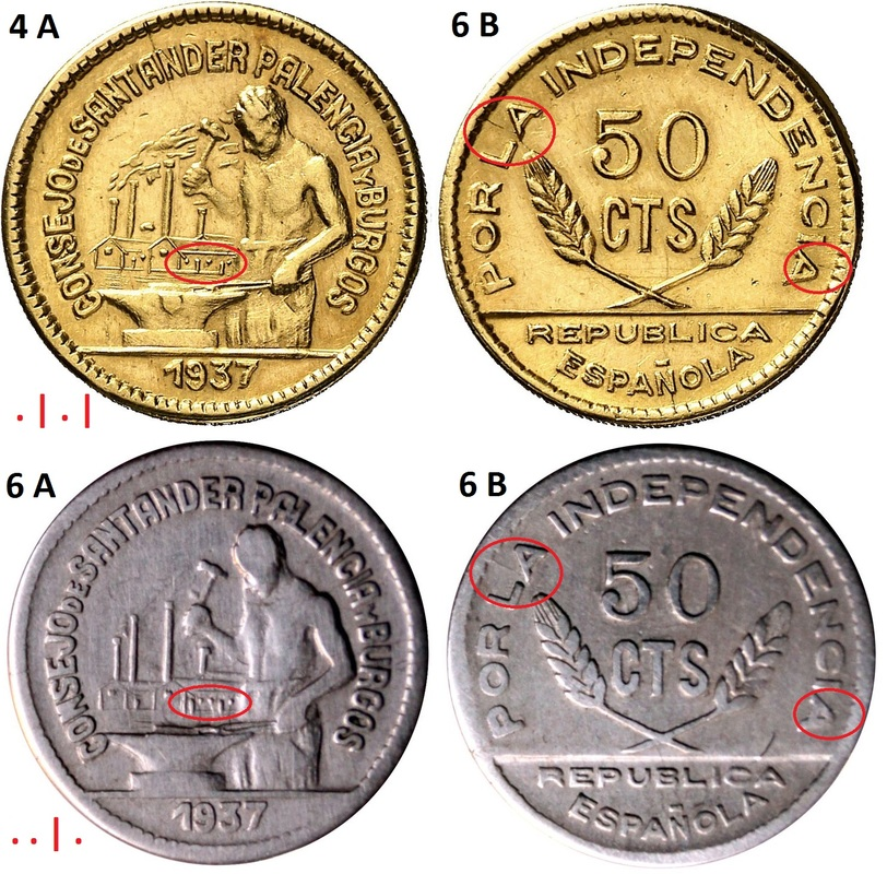 Prueba de oro de los 50 Cts. del Consejo de Santander, Palencia y  Burgos Comparaci_n_2