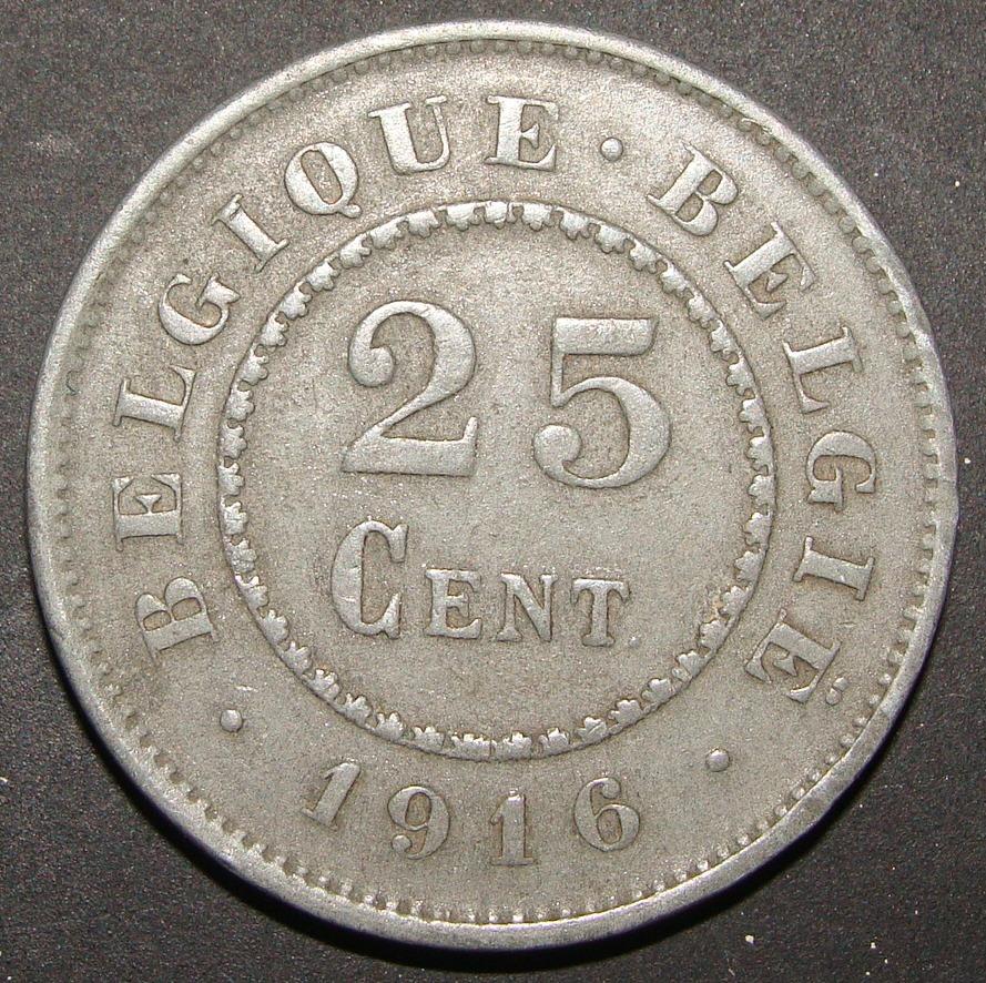 25 Céntimos de franco. Bélgica (1916) BEL_25_C_ntimos_Franco_1916_anv