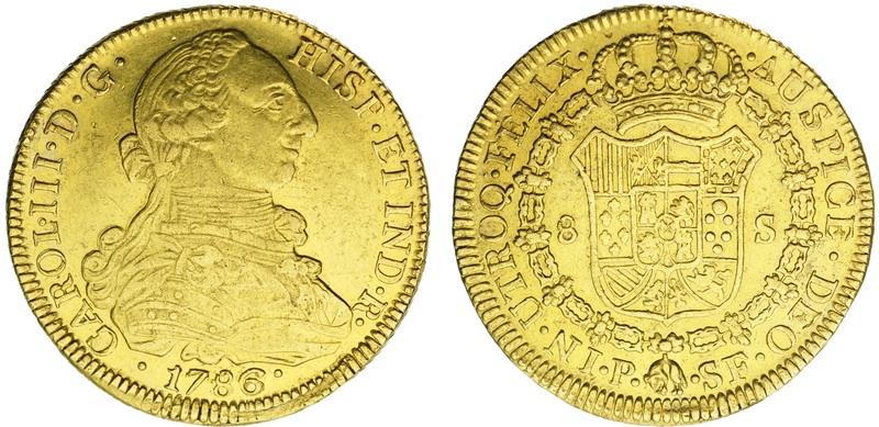 8 escudos Carlos III 1786. Popayán. onza de las indias. Image