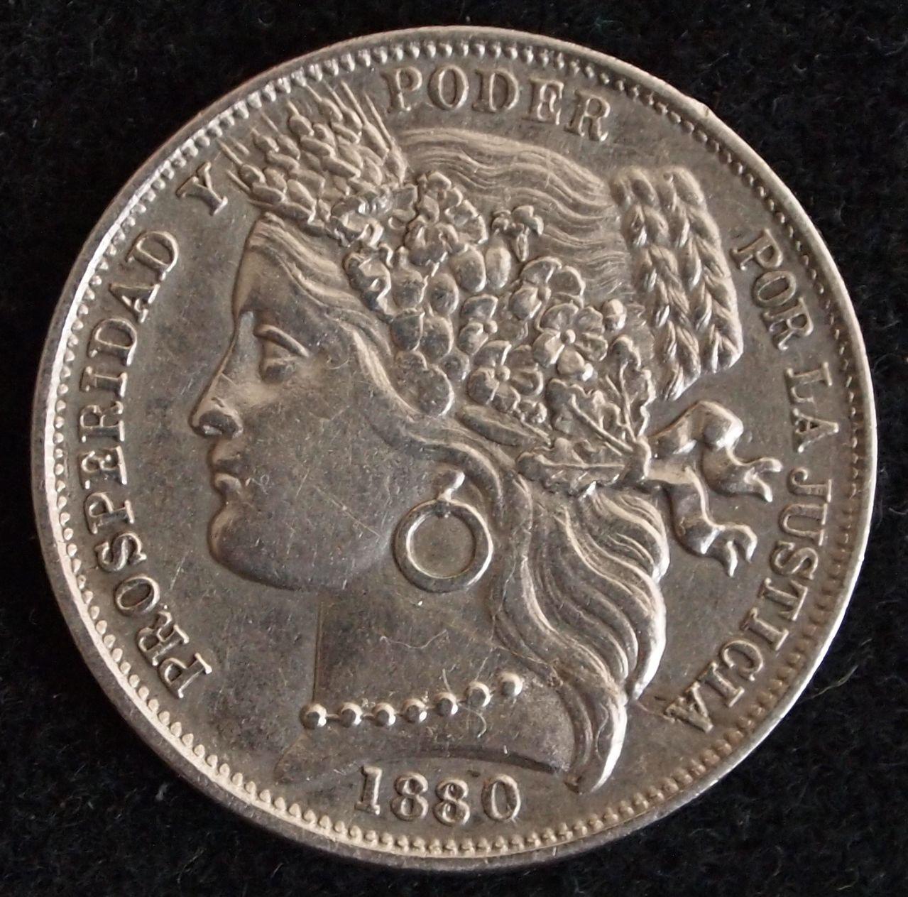 1 peseta peru 1880 1