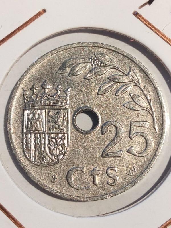 Guerra civil: 5 y 50 cts República 1937 y 25 cts Gobierno de Burgos EE25cts37rev