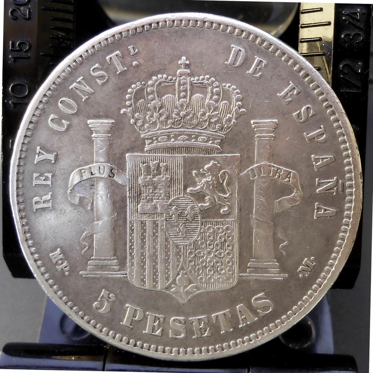 5 pesetas Alfonso XIII 1888 MPM. Rev_1888