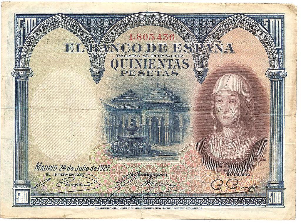 500 Pesetas 1927  (Isabel la Católica)  Image