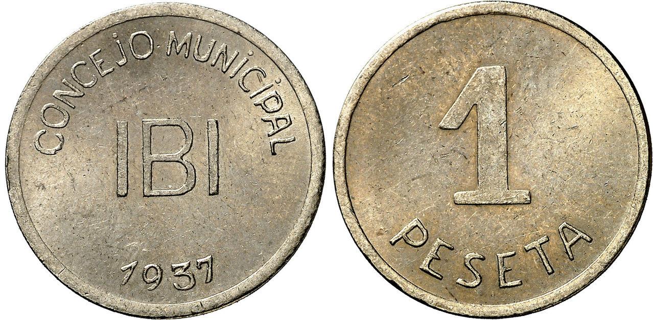 Pruebas de las monedas de 1 peseta de Ibi en níquel 0712