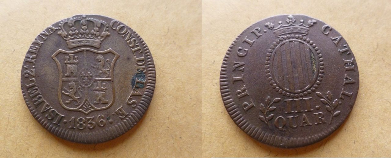 3 Cuartos 1844 Barcelona. Isabel II. Isabel