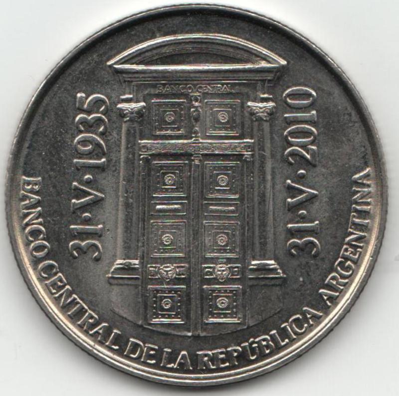 Moneda CONMEMORATIVA del 75º ANIVERSARIO de la fundación del BCRA ANVERSO_BCRA