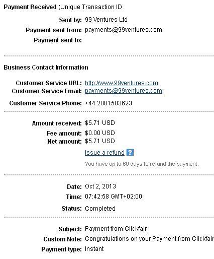 5º pago de Clickfair ( $5,71 ) Clickfairpayment