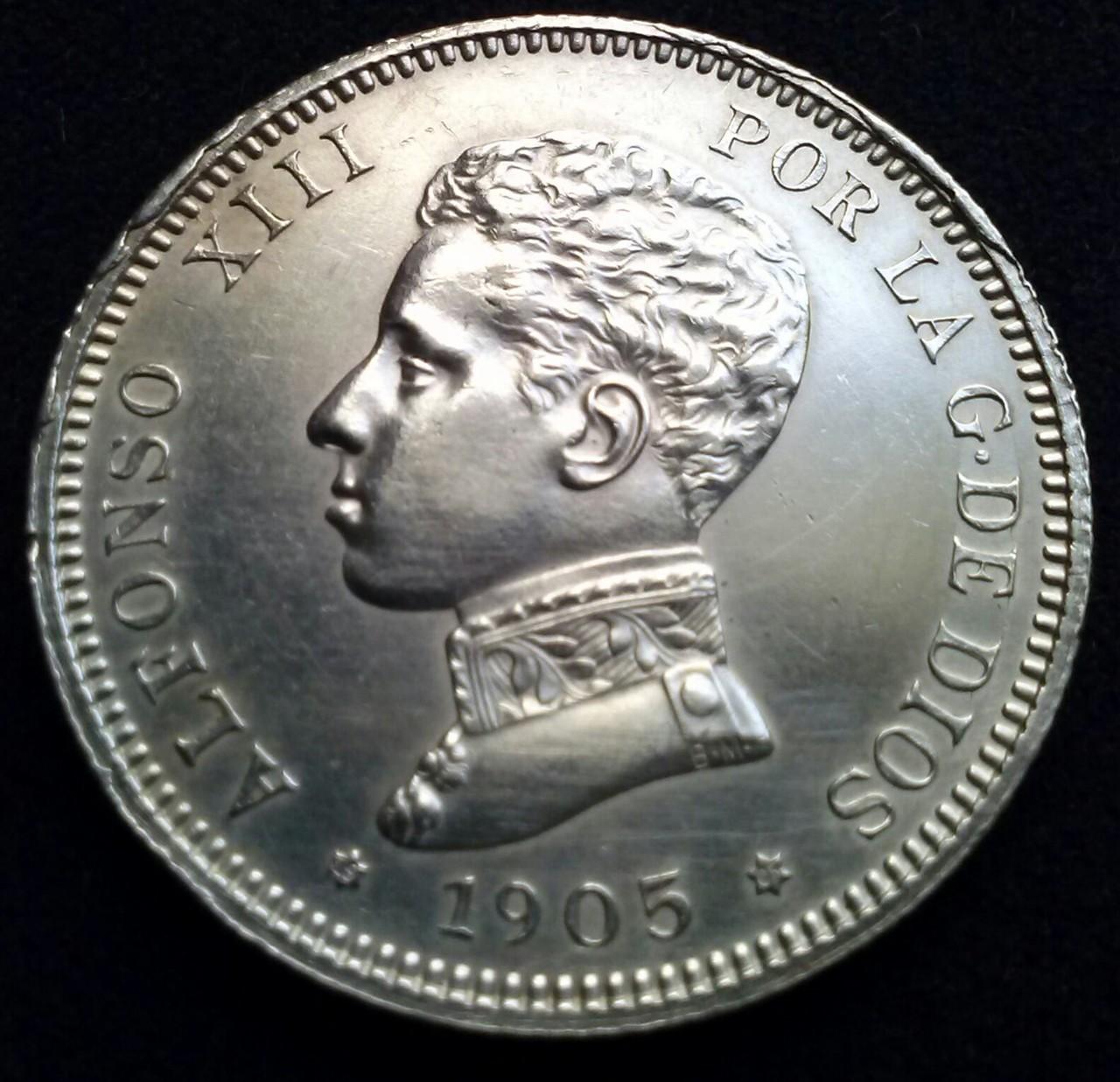 2 pesetas 1905 SMV Madrid,Alfonso XIII,DEDICADA a Estrella 76 CAM00828_1
