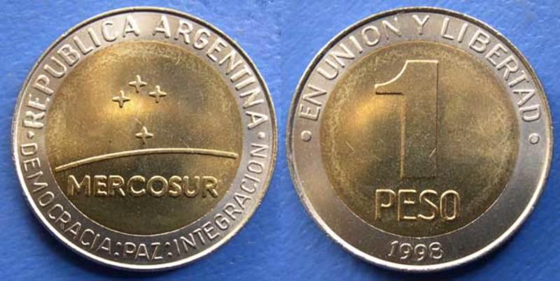 LA MONEDA BIMETALICA ARGENTINA DE UN PESO. SU HISTORIA. Anverso_mercosur