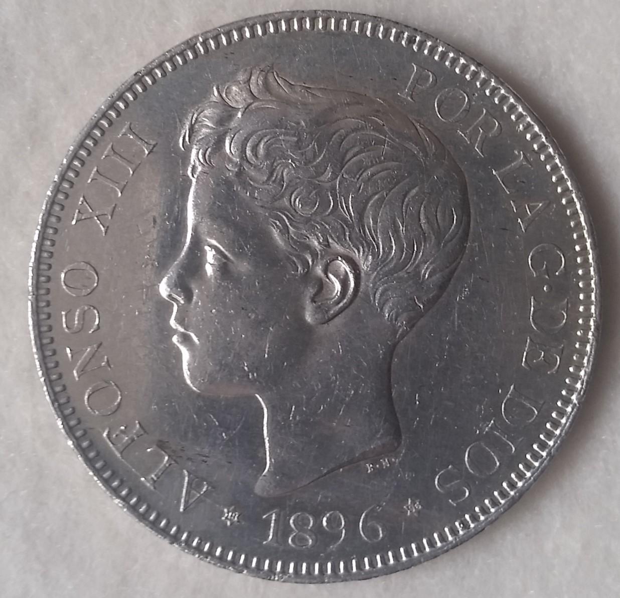 ALFONSO XIII. 5 pesetas. 1896*18-96. PGV 20160402_180024