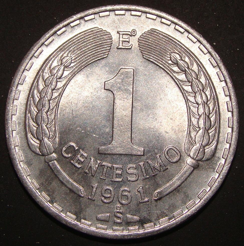 1 Centésimo de Escudo. Chile (1961) CHI_1_Cent_simo_Escudo_1961_rev