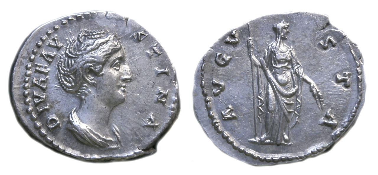Denario de Faustina I. AVGVSTA. Ceres velada estante a dcha. Ceca Roma. Faustina_mare_blanc