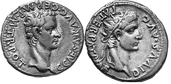 Denario de Calígula. DIVVS AVG PATER PATRIAE. Busto radiado de Augusto. Ceca Lugudnum. Caligula