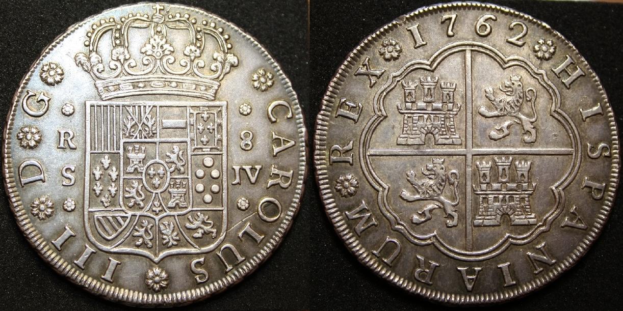 8 reales de Carlos III, 1762, Sevilla. El último escudo de anverso. 8_reales_1762_conjunto