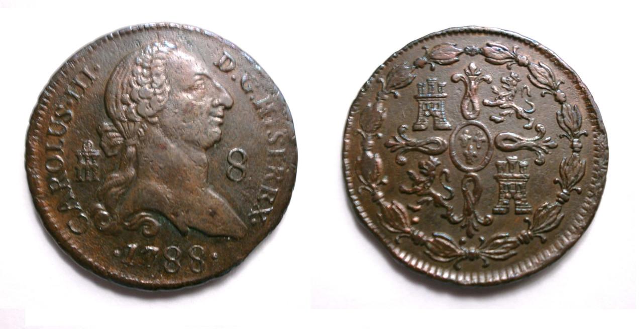 8 Maravedís 1788. Carlos III. Segovia 1788