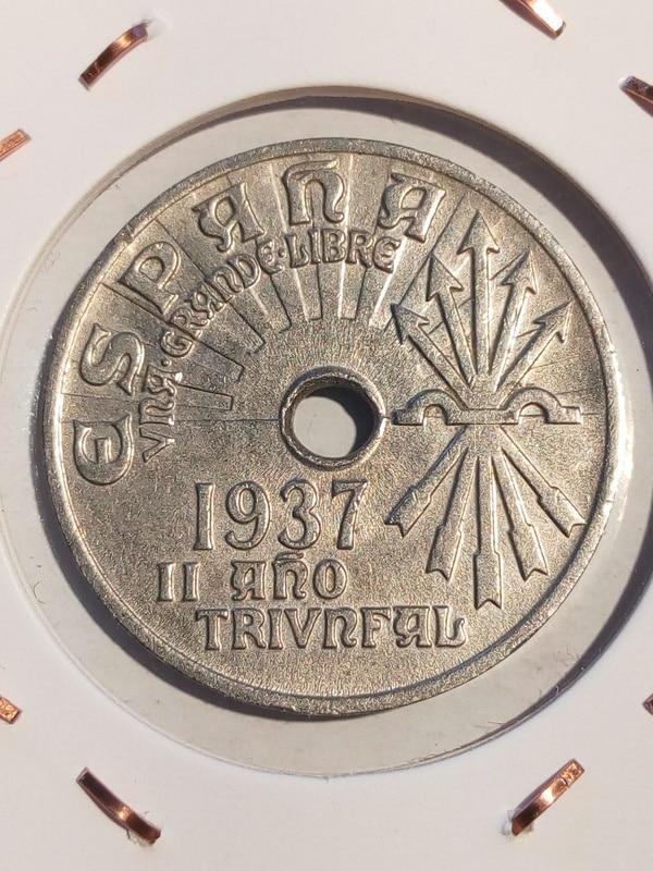 Guerra civil: 5 y 50 cts República 1937 y 25 cts Gobierno de Burgos EE25cts37anv