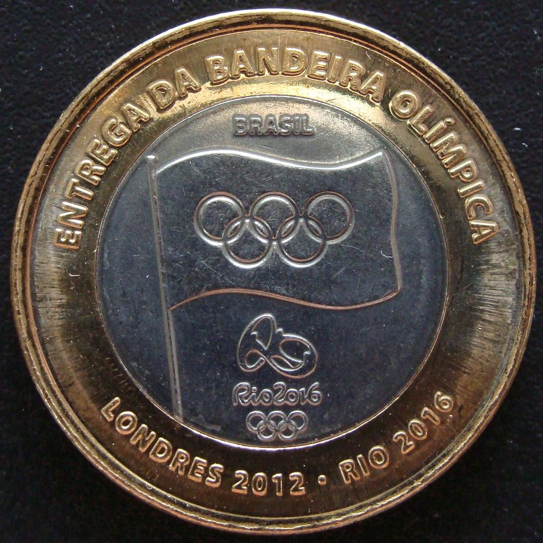 1 Real. Brasil (2012) Bandera Olímpica BRA_1_Real_Entrega_bandera_ol_mpica_anv