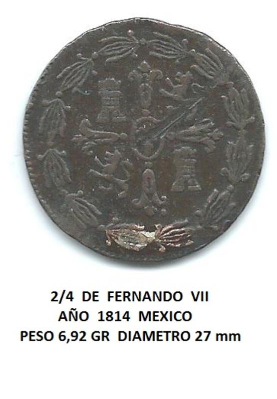 2/4 de Fernando VII Mexico 1814 Image