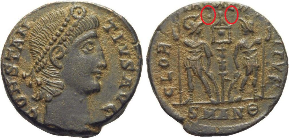 AE4 de Constancio II. GLORIA EXERCITVS. Soldados entre un estandarte. Antioquía Image
