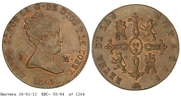 8 maravedis 1849. Isabel II - Segovia. 1264g