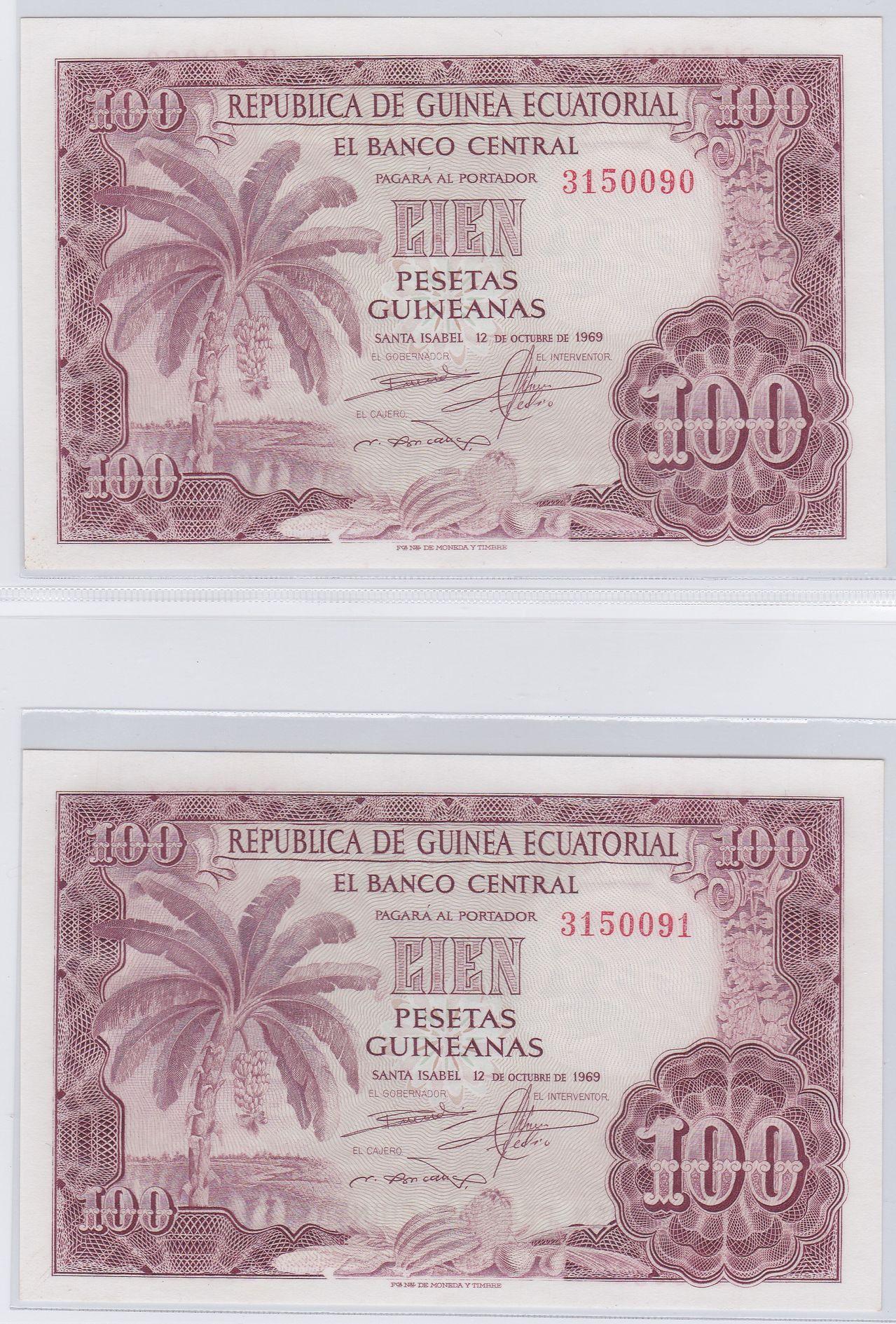 100 Pesetas Guinea Ecuatorial, 1969 (Pareja) 1969_100_pesetas_guineanas_A