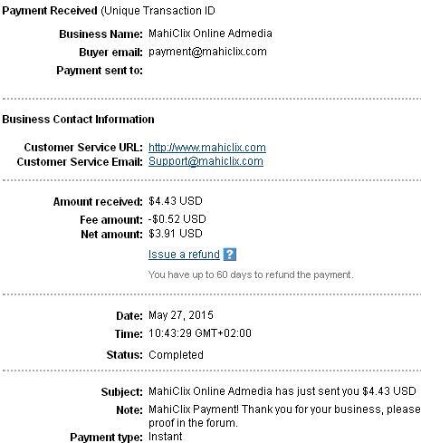 1º Pago de Mahiclix ( $4,43 ) Mahiclixpayment
