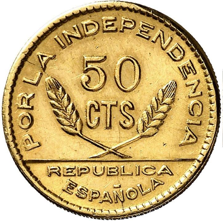 Prueba de oro de los 50 Cts. del Consejo de Santander, Palencia y  Burgos 0719b