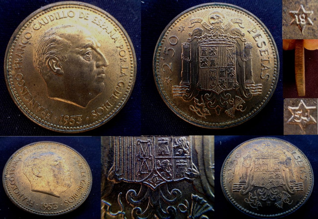 2,50 pesetas 1953 *54- Estado Español Image