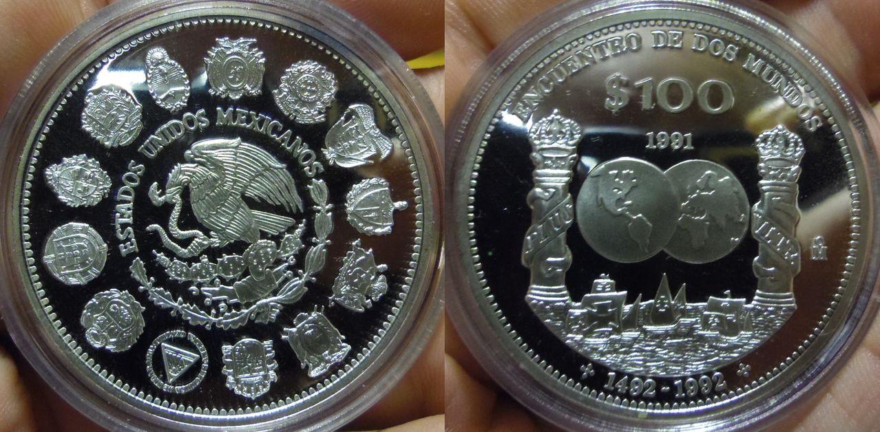 100 Pesos. México. I Serie Iberoamericana. 1991. Proof. IMGP6316