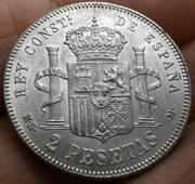 2 pesetas 1884 (*18-84). Alfonso XII 20180324_005256
