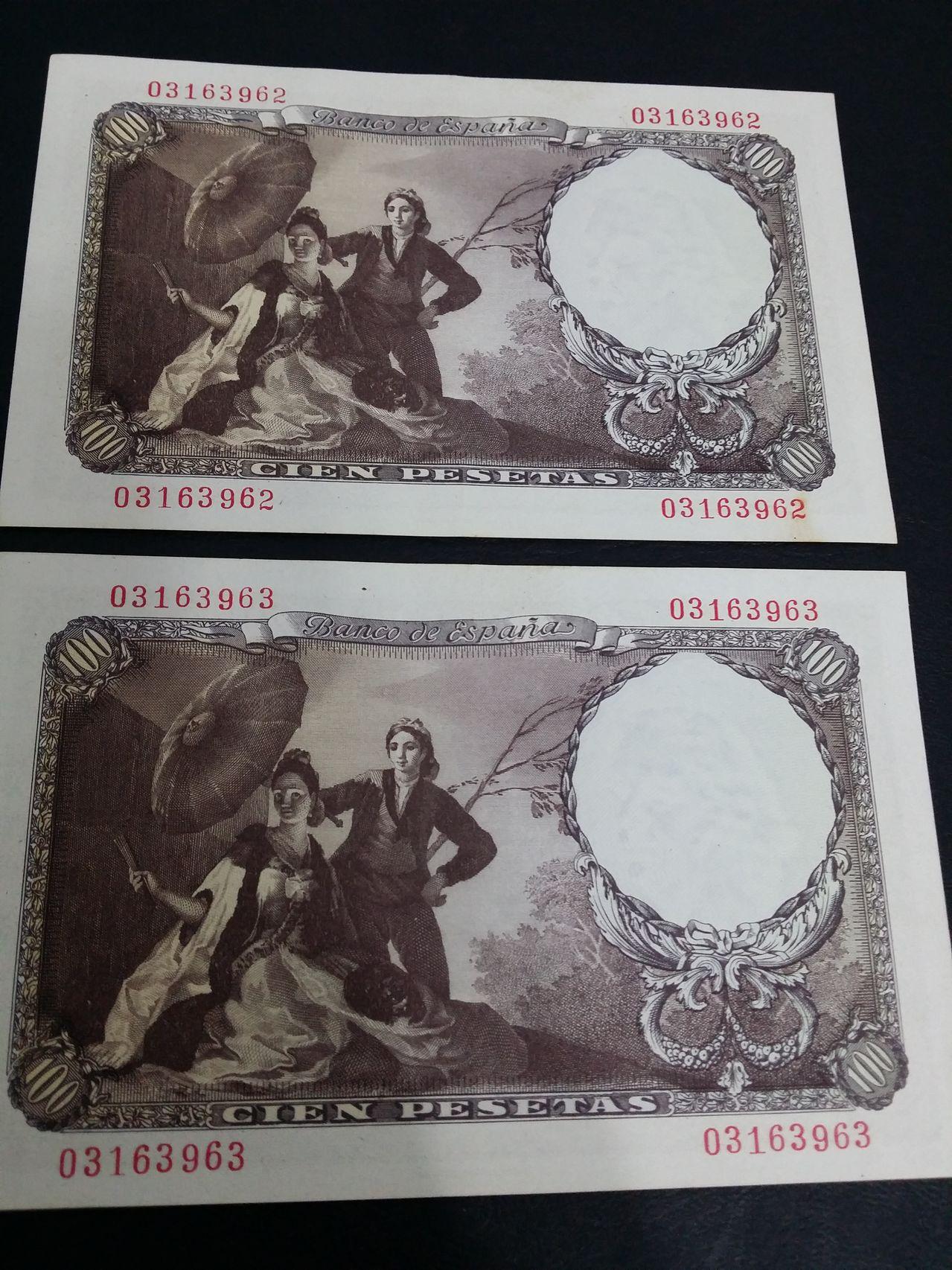 100 Pesetas 1946 (Goya Sin serie - pareja) 20160117_133138