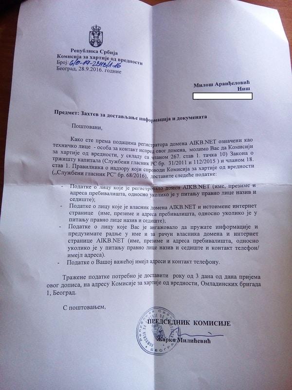 Pismo komisije za HOV pismo Vv1