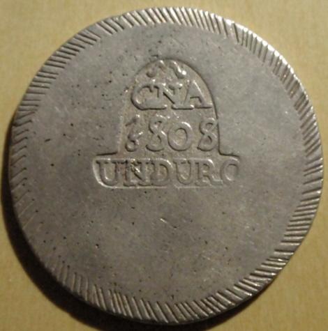 1 duro 1808. Fernando VII. Gerona Gerona_A