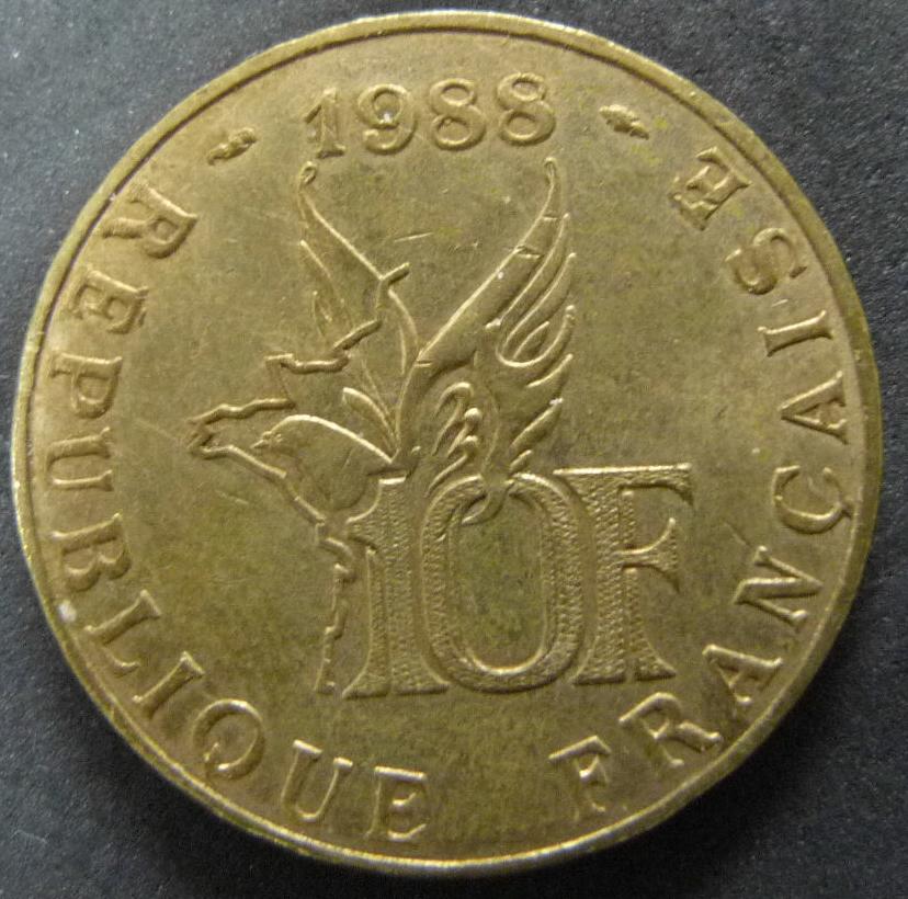 10 Francos. Francia (1988) Roland Garros FRA_10_Francos_Roland_Garros_anv