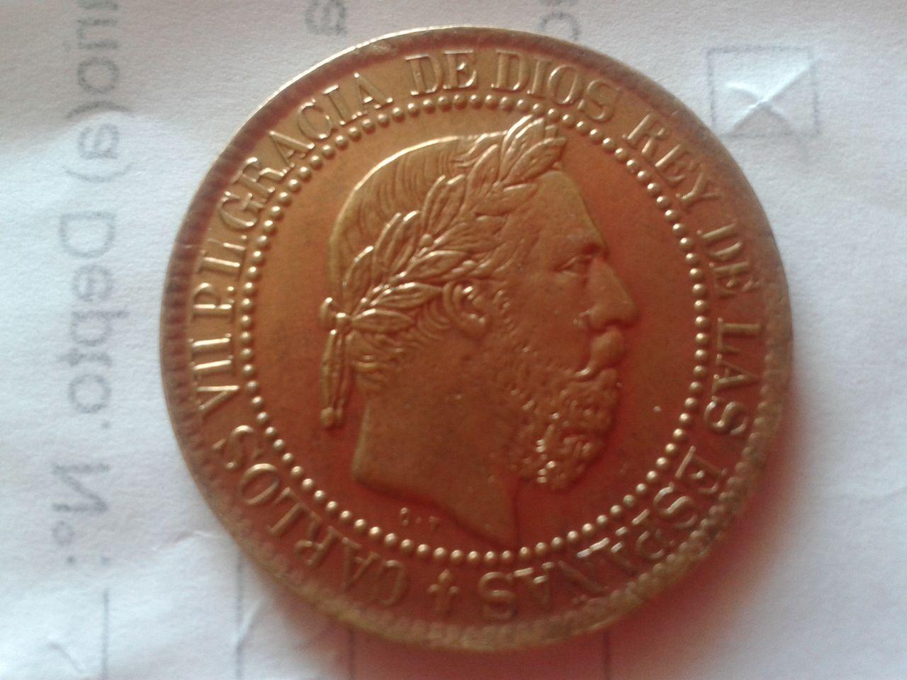 10 CÉNTIMOS DE PESETA. 1875. CAROLUS VII. CECA OÑATE. 20141229_091041