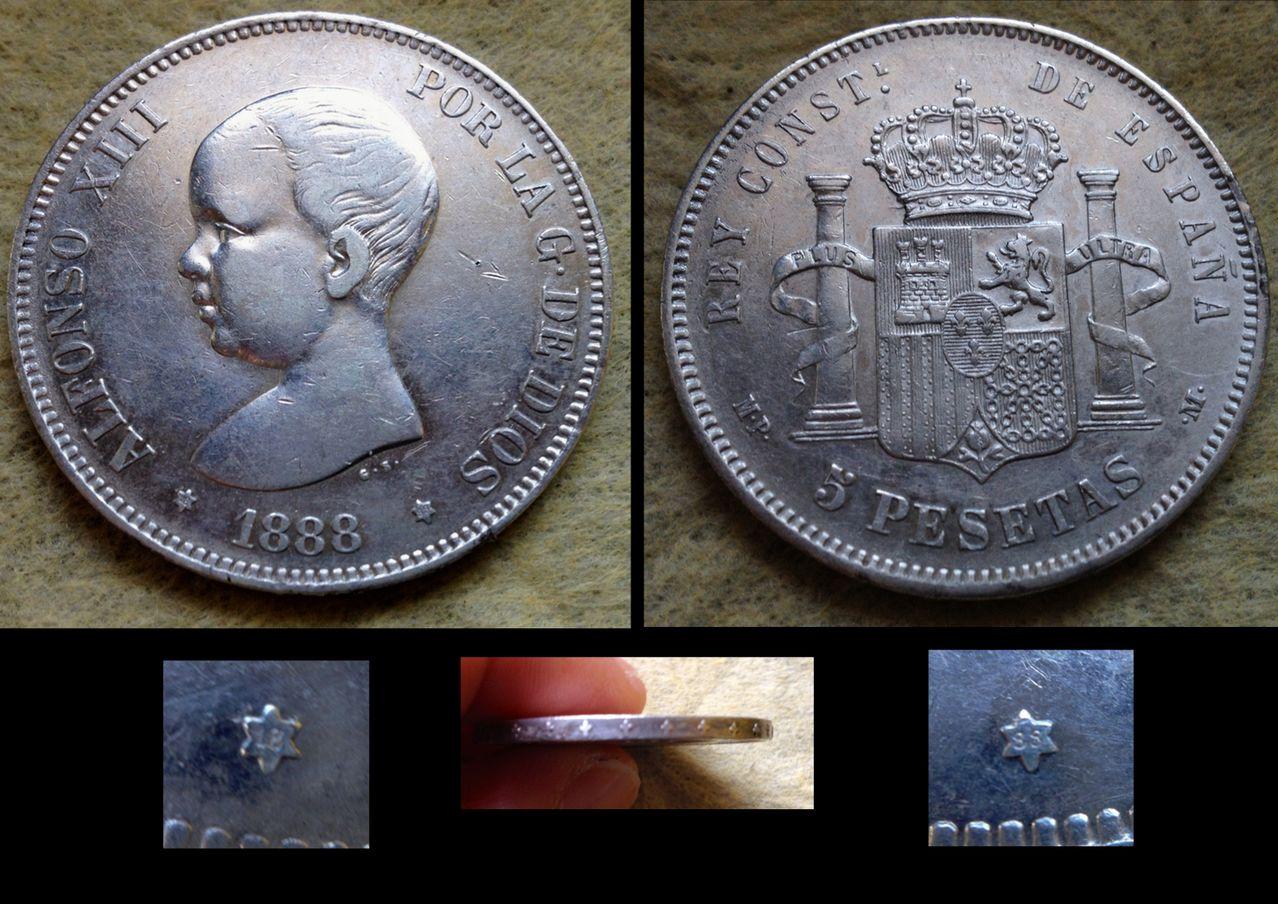 5 Pesetas 1888 Afonso XIII MP M 5_pesetas_1888