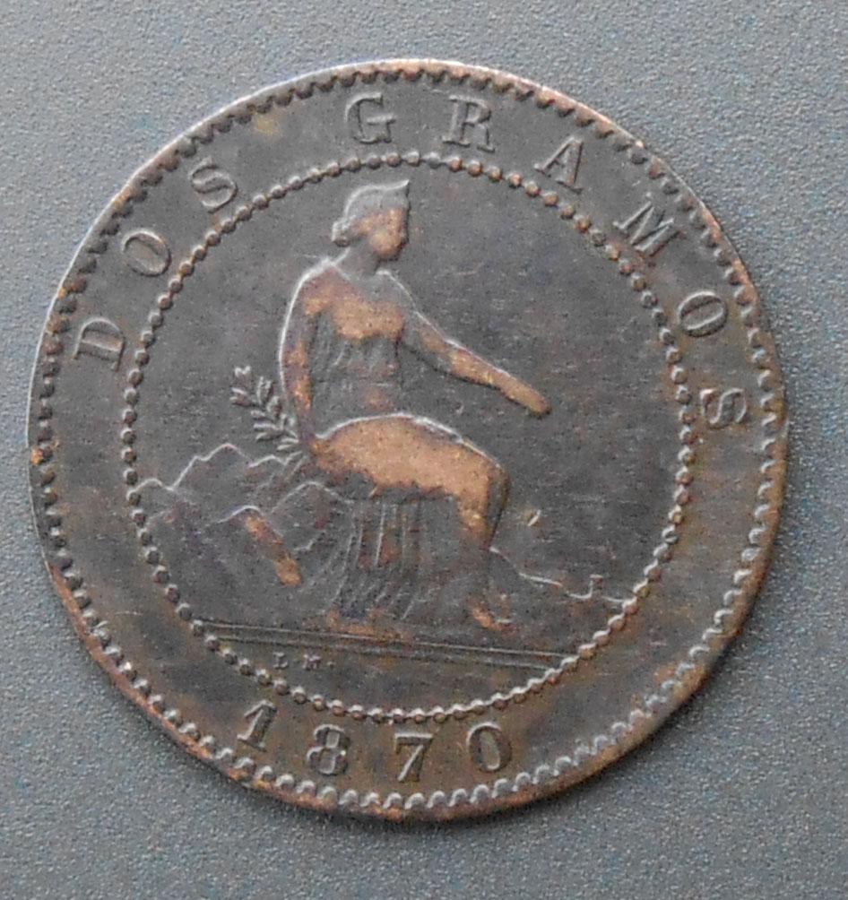 2 céntimos 1870. Gobierno Provisional. DSCN1389