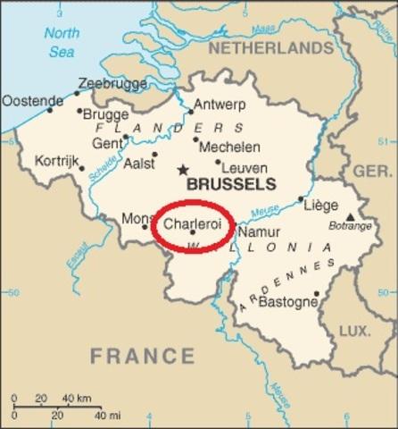 Jetón Fortificación de Charleroi. Año 1667. Bruselas. Carlos II. Dedicado a Sevix Be_map_1