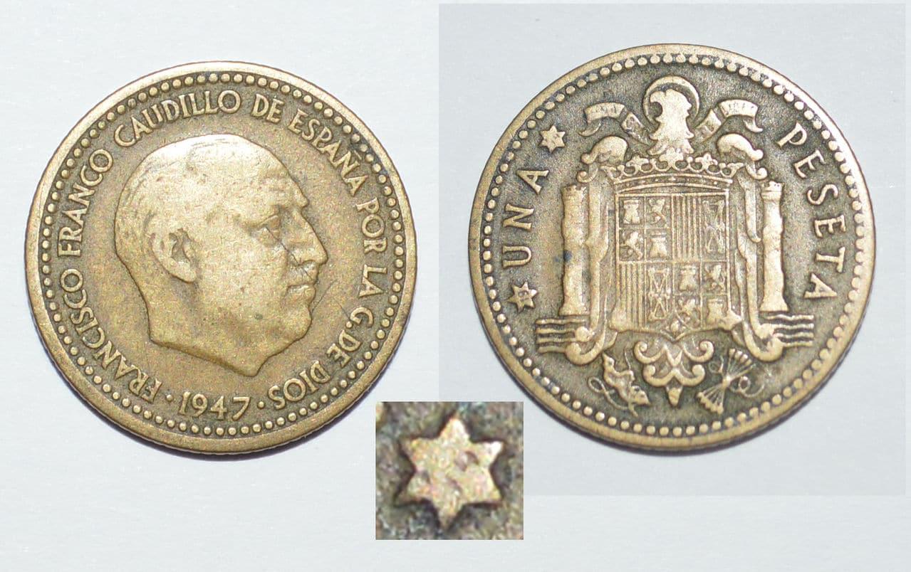 1 peseta 1947 Estrella ¿54? - Estado Español 1_Peseta_1947_Estrella_54