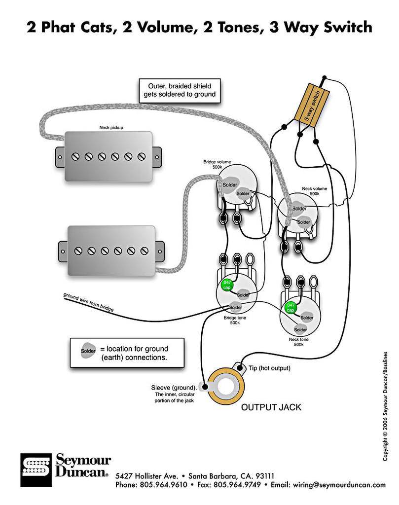 Ligação captadores JJ com 2V e 2T 2phatcats_2vol_2t_3way2