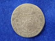 2 Reales Carlos III Resello de Vique, Raro reverso R867_1