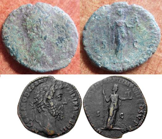 As de Cómodo. NOBILIT(AS) AVG P M TR P XI(I) IMP VIII COS V P P S C. Nobilitas estante a dcha. Roma. Image
