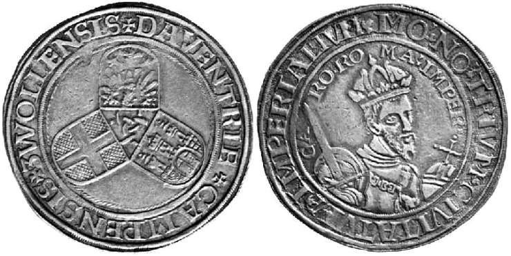 Tálero sin fecha a nombre de Carlos V (1538 - 1542) de Deventer, Kampen y Zwolle Deventer1