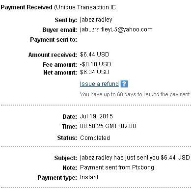 6º Pago de PtcBong ( $6,44 ) Ptcbongpayment