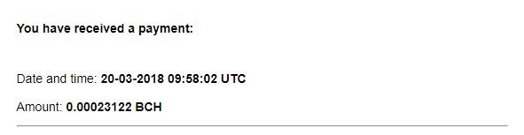 7º Pago de Bitverts ( BCH 0.00023122 ) Bitvertspayment