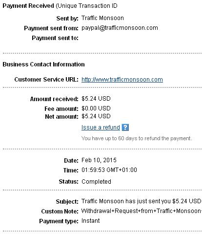 2º Pago de Trafficmonsoon ( $5,24 ) Trafficpayment